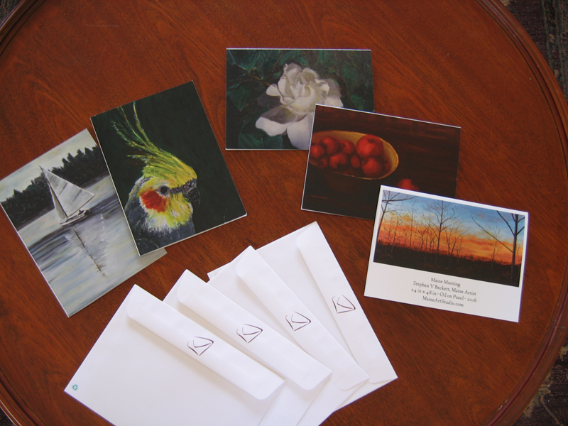 Any of my paintings may be made into coated gift cards.<br>They are $25/ half dozen with envelopes and free shipping!