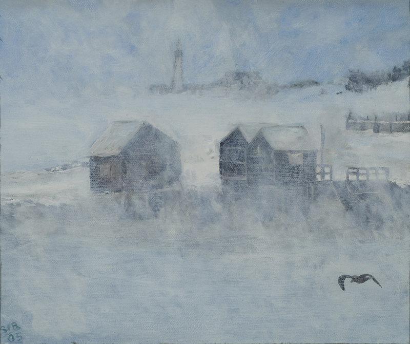The Fish Shacks at Willard Beach - 12 in x 10 in - Oil on Canvas - 2005 - Private Collection of John and Virginia Roberts