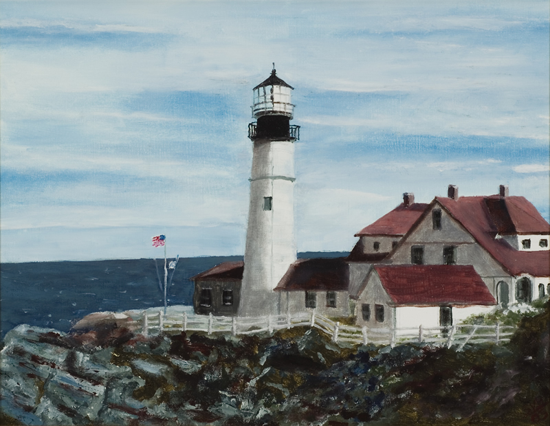 Portland Head Light - 18 in x 14 in - Oil on Canvas - 2005 - Private Collection of Peggy Sullivan