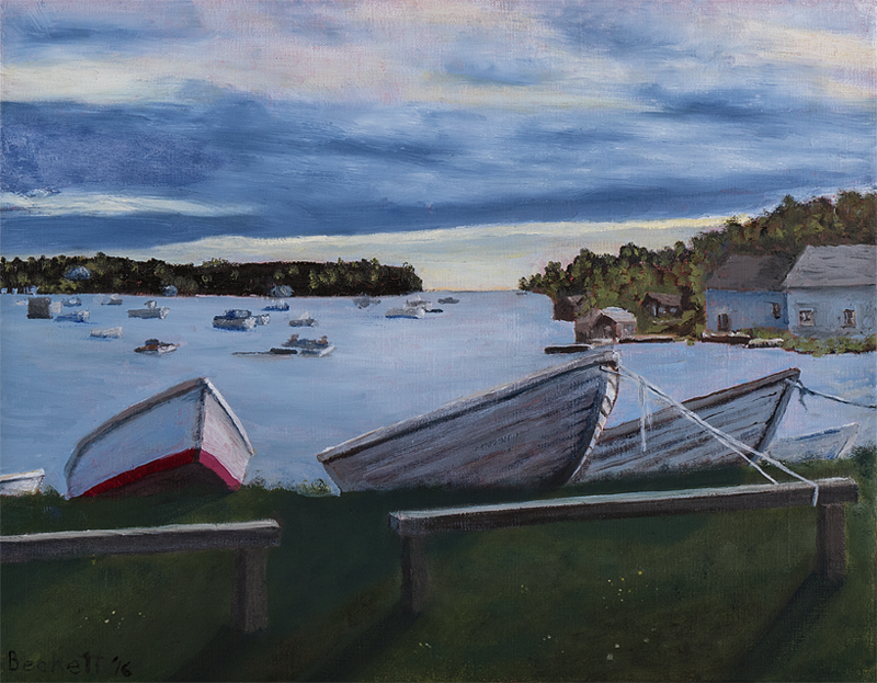 Three Boats, Mackerel Cove, Harpswell Neck, Maine - 14 x 18 Oil on Belgian Linen - 2016
