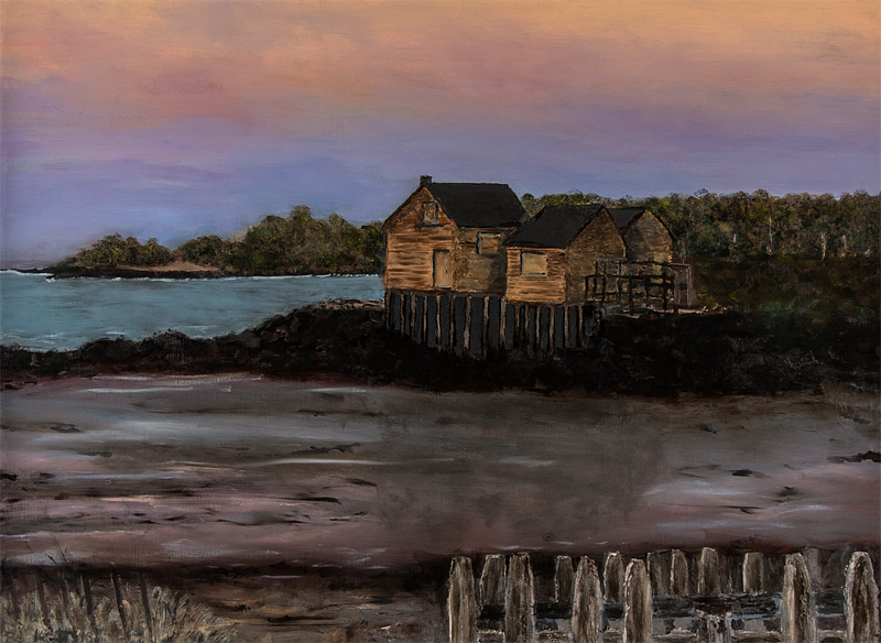 The Fish Shacks at Willard Beach, South Portland, Maine   30 in x 22 in Oil on Panel 2016   Photo reference by Lynn Danforth