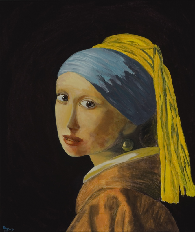 Study: Girl with a Pearl Earring   22 in x 26 in Oil on Canvas 2005   Private Collection