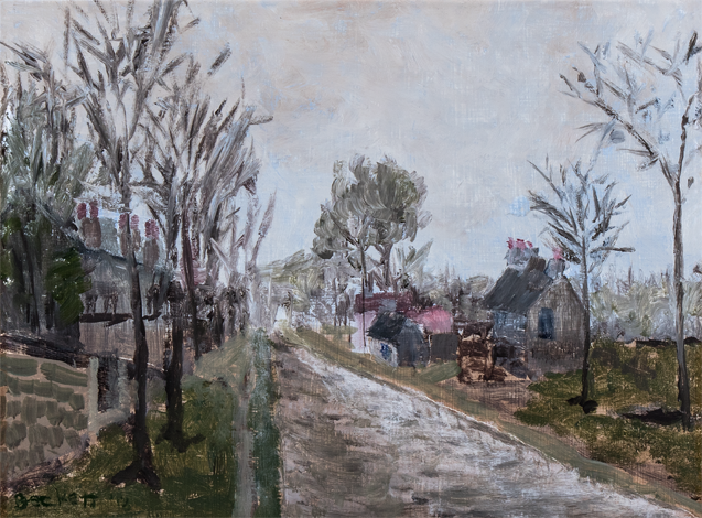 Rain Effect, Study: Pissarro   9 in x 12 in Oil on Panel 2018