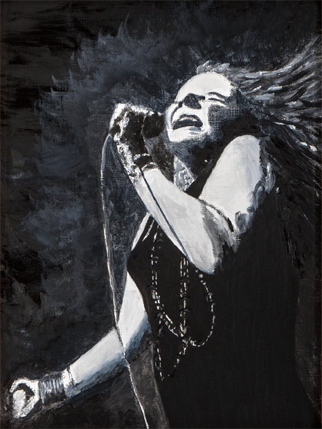 Janice Joplin - 9 in x 12 in Oil on Panel 2018 - Private Collection of Bill and Sandra Gannon