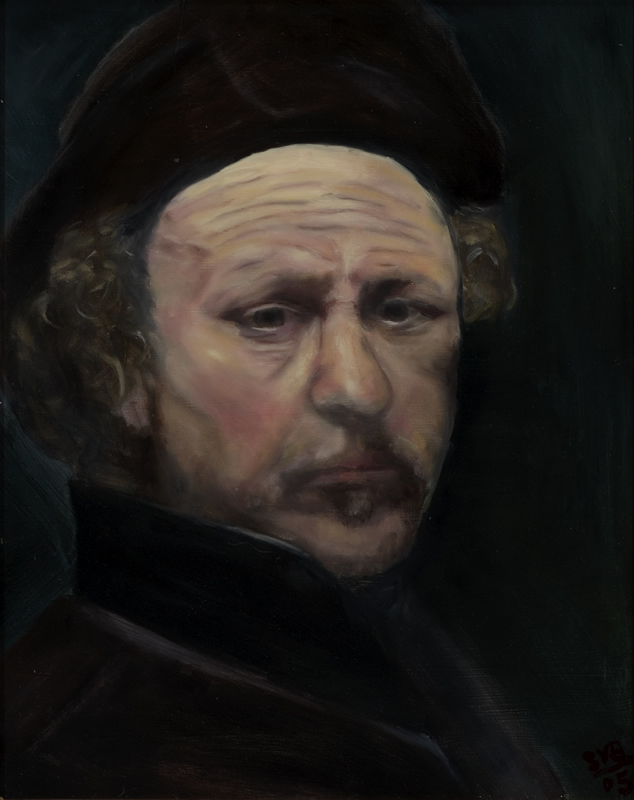 "Study: Rembrandt Self Portrait   16"" x 20"" Oil on Canvas 2005"