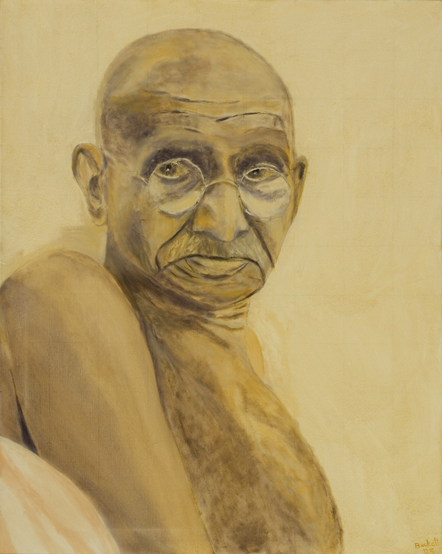 Mahatma Gandhi   24 in x 30 in Oil on Canvas 2005   Private Collection of Monique Crochet