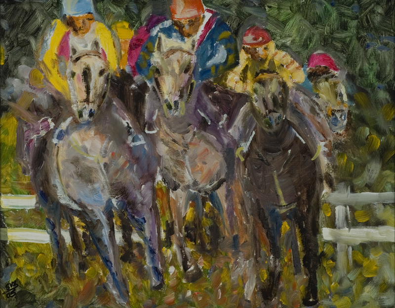 "The Horserace 11"" x 14"" Oil on Canvas 2005"