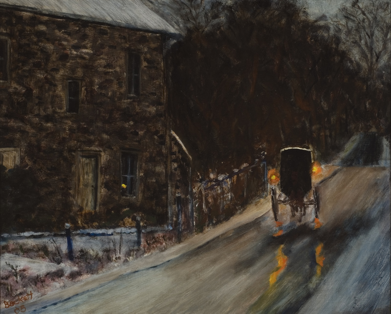 Amish Carriage - 16 in x 20 in - Oil on Panel - 2005 - Private Collection of Randy and Gerry Cantwell
