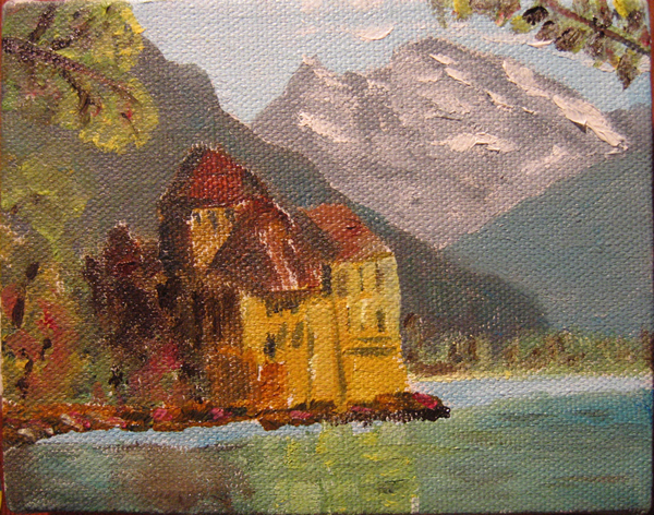 French Castle* - 3.5 in x 2.5 in - Oil on Canvas - 2005 - Private Collection of Joyce Fletcher