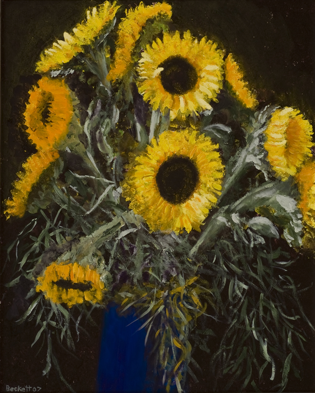 Sunflowers - 16 in x 20 in - Oil on Panel <br> 2007 Private Collection of Susan McKinley