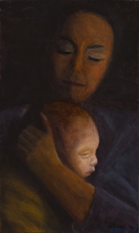 Mother and Child   12 in x 20 in Oil on Canvas 2007   Private Collection