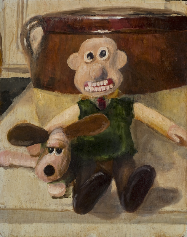 Wallace and Grommet   11 in x 14 in Oil on Panel 2007   Private Collection of Greg and Lauren Miner