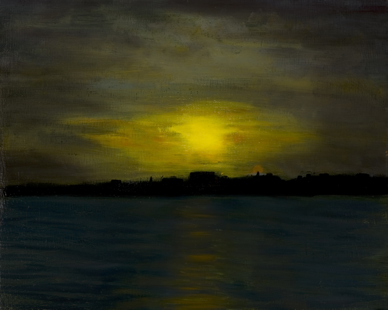 Night Sailing off Portland, Maine - 16 in x 20 in - Oil on Panel 2007 - Photo Reference by Ray Spencer - Private Collection of Terry Daniels