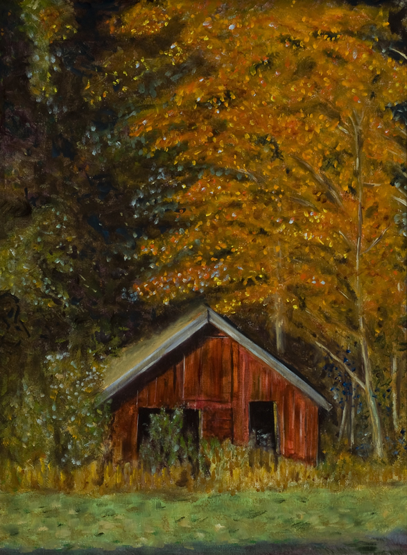 Red Barn - 18 in x 24 in - Oil on Panel 2007 <br> Photo Ref by Leslie Bugbee - Private Collection of Matt Gannon