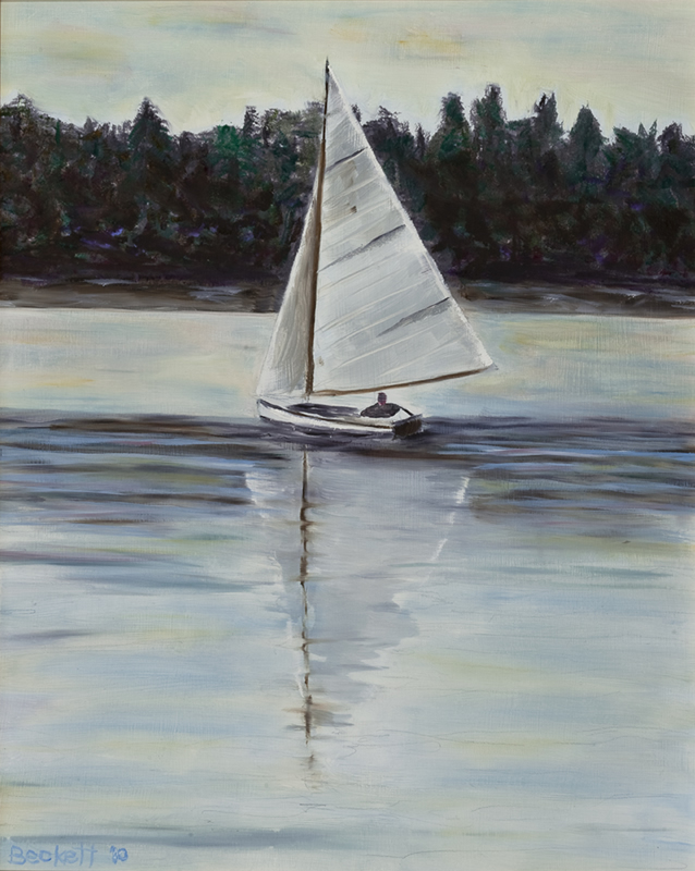 Wooden Boat Harbor, Penobscot Bay, Maine - 16 in x 20 in - Oil on Panel - 2010 - Private Collection of Mary Giftos