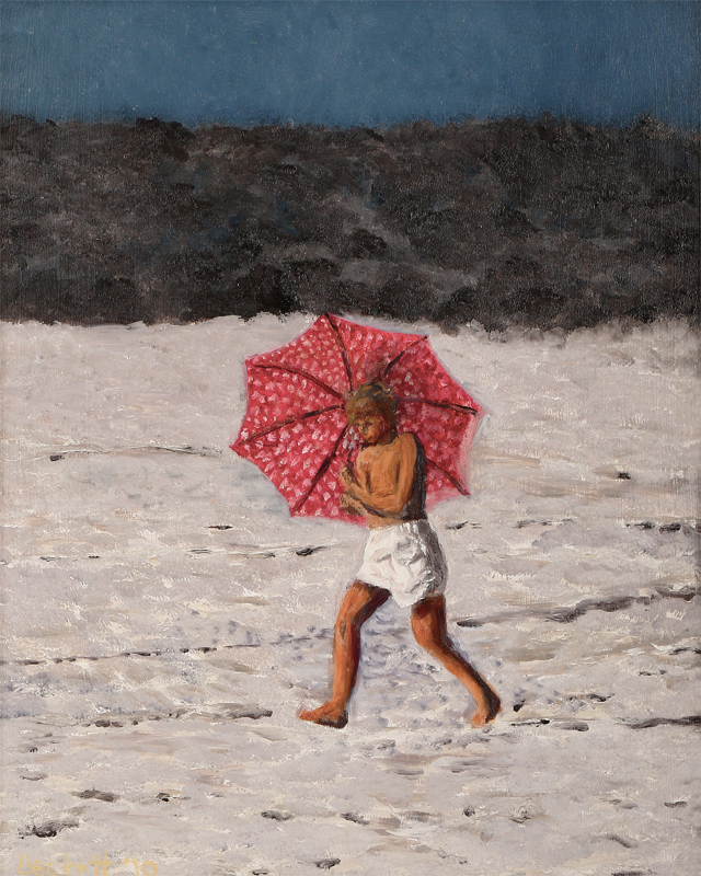 Girl with an Umbrella - 16 in x 20 in - Oil on Panel - 2010 - Photo Reference by Ray Spencer