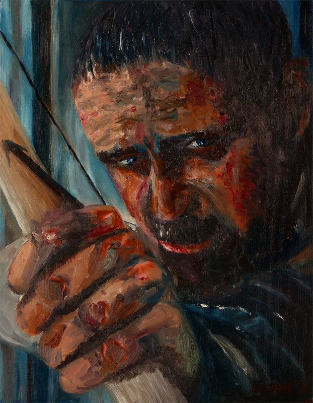 Robin Hood   11 in x 14 in Oil on Canvas 2011   Cropped Movie Poster Reference