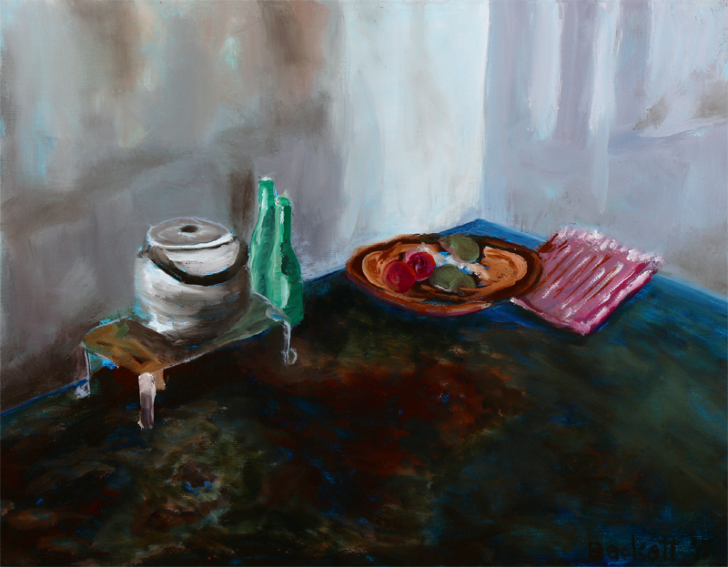 Aliyah's Kitchen - Moshi, Tanzania - 11 in x 14 in Oil on Canvas 2011 Photo Reference by Wendy Pollock