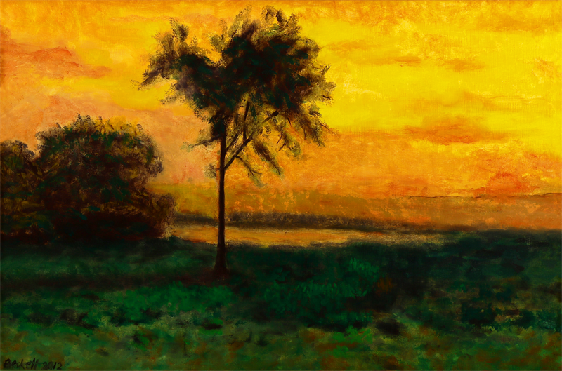 Study after G. Inness: Sunrise 1887   16 in x 24 in Oil on Muslin 2012