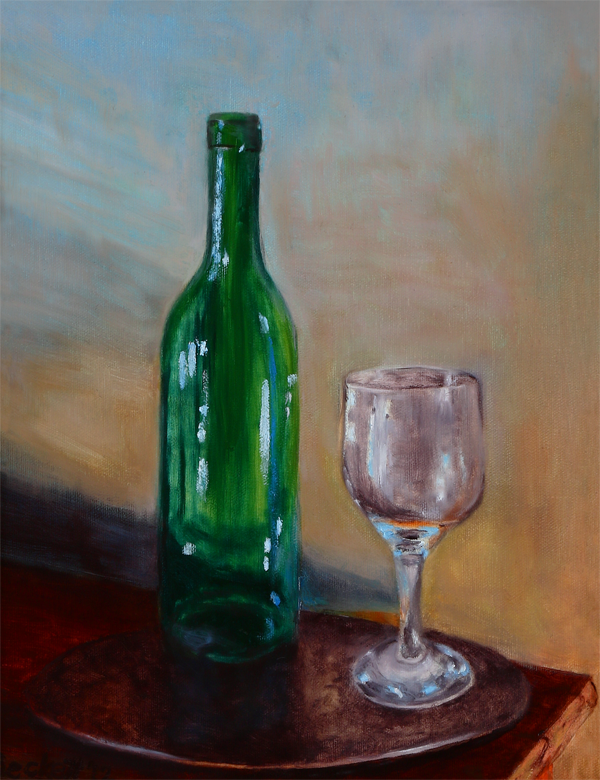 Still Life - Wine Bottle and Glass   11 in x 14 in Oil on Canvas 2012   Private Collection of Sue McKinley