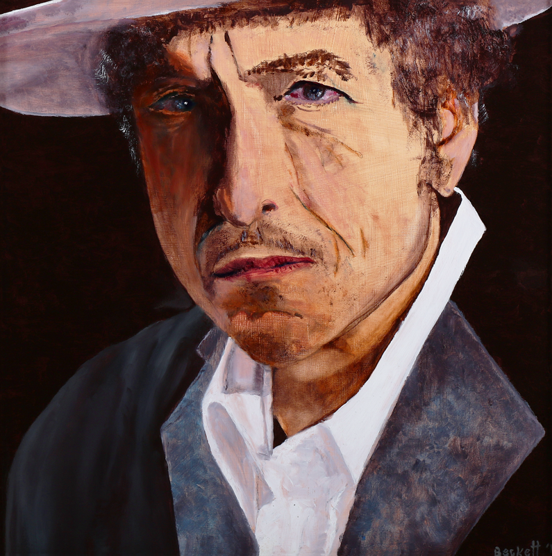 Bob Dylan - 12 in x 12 in Oil on Panel - 2012 - Private Collection of Sarah Guare