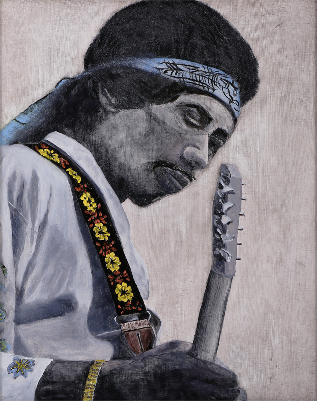Jimi Hendrix   16 inx 20 in Oil on Panel 2012   Private Collection of Larry and Emlyn Fanjoy
