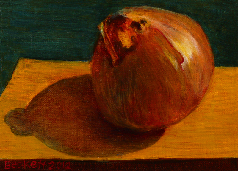 Yellow Onion   5 in x 7 in Oil on Belgian Linen on Panel 2012