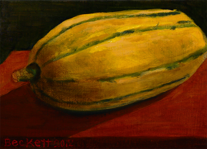 Delicata Squash   5 in x 7 in Oil on Belgian Linen on Panel 2012