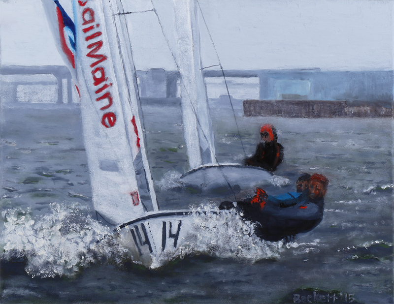 Sail Maine, on Casco Bay in March - 14 in x 18 in Oil on Canvas 2015 - Photo Reference by Kevin Fahrman