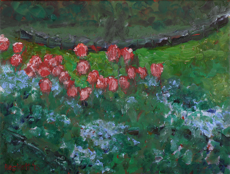 Tulips, from the Kitchen   12 in x 16 in Oil on Canvas 2015
