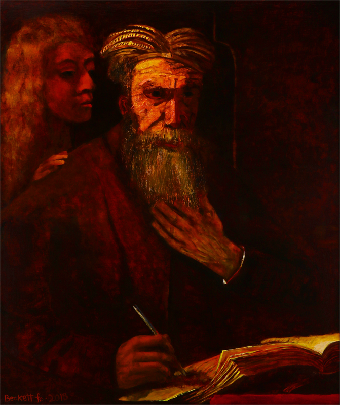 Study: Rembrandt's Saint Mathew and the Angel - 32 in x 38 in Oil on Belgian Linen - 2015