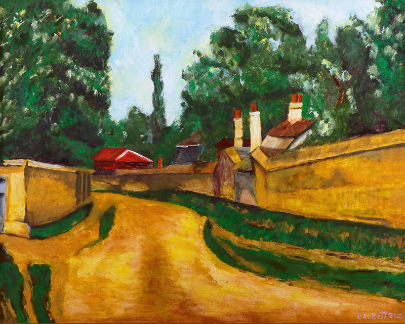 Study: Cezanne, Houses Along a Road - 24 in x 30 in Oil on Canvas - 2015